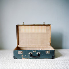 Open antique suitcase