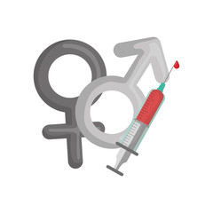genders male and female symbols with srynge