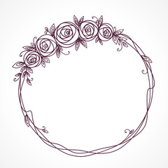 Floral frame with bouquet. Wreath of rose flowers.