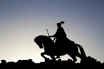 silhouette of horseman