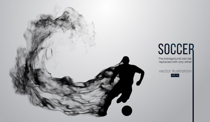 Abstract silhouette of a football player from particles, dust, smoke, steam. Soccer player running with ball. World and european league. Background can be changed to any other. Vector illustration