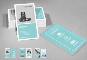 Teal and White Vertical Business Card Layout