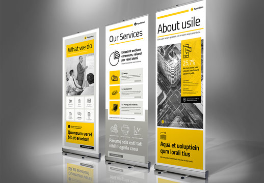 Yellow and Gray Roll-Up Banner Advertisement Layout