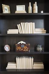 Books and decor on shelf
