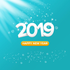 2019 Happy new year creative design background or greeting card. 2019 new year numbers on azure christmas background with lights