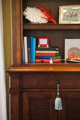 Books and seashells on wooden shelves
