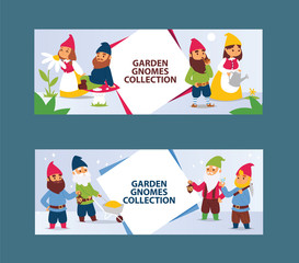 Garden gnome beard dwarf characters cadrs and gardening flayer klitsch family figure background vector illustration