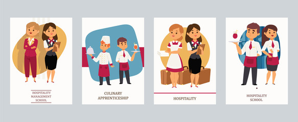 Culinary arts or hospitality school vector Illustration. Cards with hotel staff, meneger and assistant, chef and waiter, housekeeper and receptionist, female and male servants.