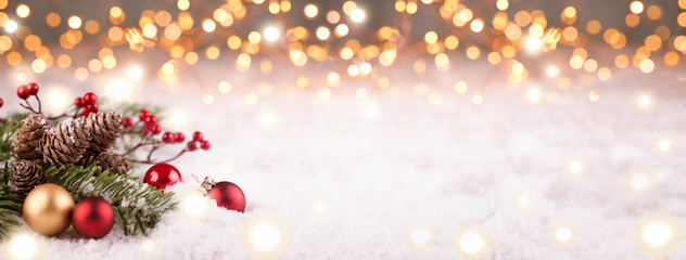Golden Christmas Winter Background Panorama
