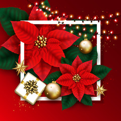 Merry Christmas Card With Glowing Garland, Gift Box, Golden Bubbles, Stars and Poinsettia Flowers Background. Winter vector illustration template