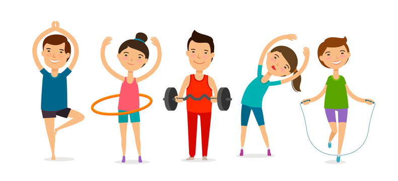 People involved in sports. Fitness, gym, healthy lifestyle concept. Cartoon vector illustration