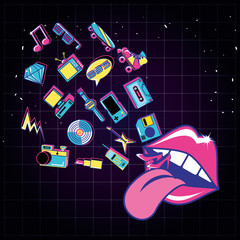 lips pop art with set icons