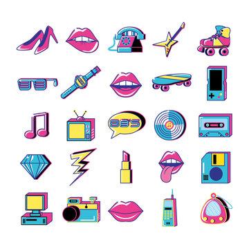 80 y 90 pop art set icons