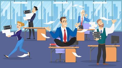 Businessman sitting on the table in lotus pose during deadline