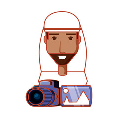 man arab with photographic camera and picture