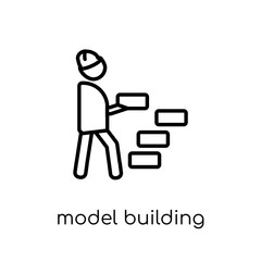 Model building icon. Trendy modern flat linear vector Model building icon on white background from thin line Activity and Hobbies collection