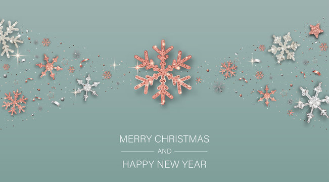 Merry Christmas and Happy New Year poster with shiny snowflakes and confetti.