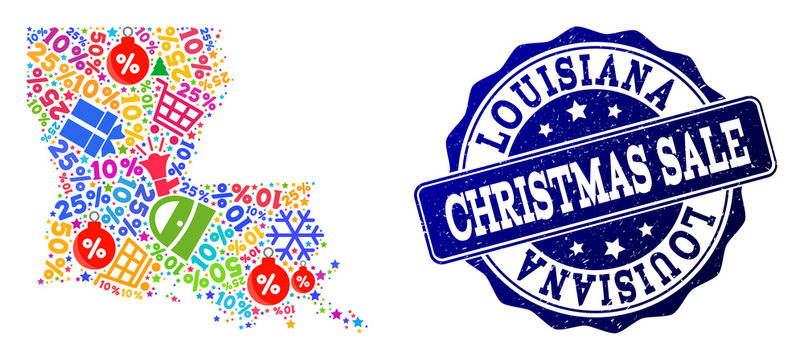 Christmas sale combination of mosaic map of Louisiana State and grunge stamp seal. Vector blue seal with grunge rubber texture for Christmas Sales. Flat design for trade illustrations.