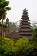 The Black Thatched Roofs at Pura Besakih, Bali. Also known as the Mother Temple, the thatched roofs usually uses ijuk (black aren fibers) are very durable and long lasting.