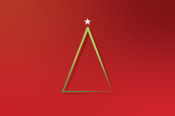 2D Illustration of  a single, line art Christmas tree 06C