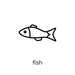 Fish icon. Trendy modern flat linear vector Fish icon on white background from thin line animals collection