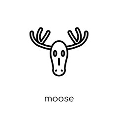 Moose icon. Trendy modern flat linear vector Moose icon on white background from thin line animals collection