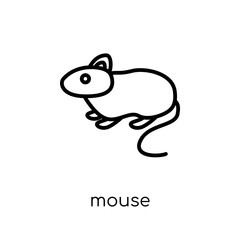 Mouse icon. Trendy modern flat linear vector Mouse icon on white background from thin line animals collection