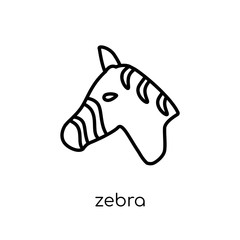 Zebra icon. Trendy modern flat linear vector Zebra icon on white background from thin line animals collection