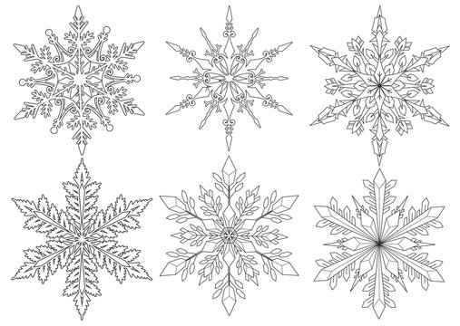 Six snowflakes for coloring book, coloring pages and design element for Christmas.Vector illustration