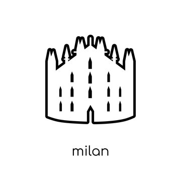Milan icon. Trendy modern flat linear vector Milan icon on white background from thin line Architecture and Travel collection