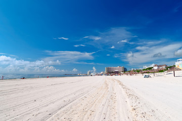 Caribbean beach and turquoise sea for a paradise landscape in Cancun, Playa delfines, Quintana Roo, Mexico