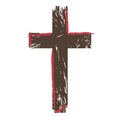 Isolated sketch of a cross. Vector illustration design