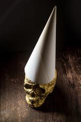 Gold Skull Dunce Hat