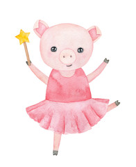 Little smiling piggy character in pastel pink tutu dress, holding magic wand with golden star to make and fulfil wishes, happiness symbol. Hand drawn water color graphic painting on white background.