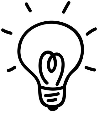 電球 電気 ひらめきのアイコン 線画