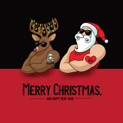 Christmas card design featuring cartoon Santa Claus muscle man mascot with his muscular reindeer sporting naughty and nice tattoos. Eps10 vector illustration.