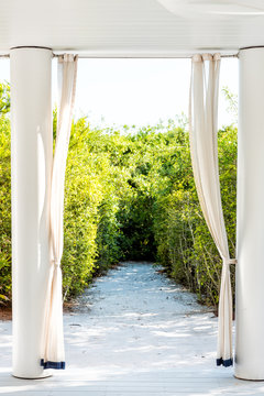 Vertical arch path leading to beach ocean with curtains, blinds wedding venue destination in Florida, sand, green shrubs, bushes, nobody empty framing