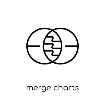 Merge charts icon. Trendy modern flat linear vector Merge charts icon on white background from thin line Business and analytics collection