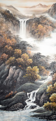 Foto auf Acrylglas Rosa dunkel Chinese traditional painting of landscape