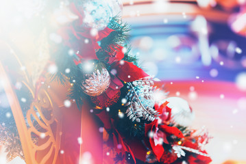 Christmas background witg bokeh light
