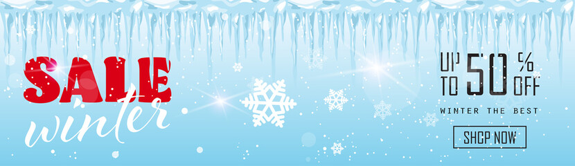 winter sale banner design frozen icicles season shopping template special discount offer concept horizontal poster flat