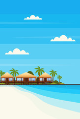 tropical island with villa bungalow hotel on beach seaside green palms landscape summer vacation concept flat vertical