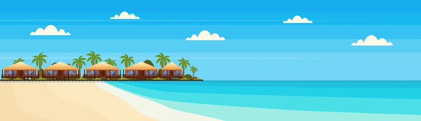 tropical island with villa bungalow hotel on beach seaside green palms landscape summer vacation concept flat horizontal banner