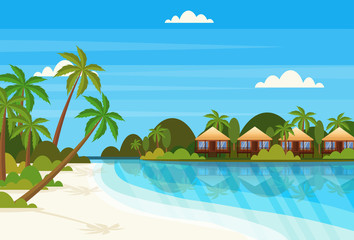 tropical island with villa bungalow hotel on beach seaside green palms landscape summer vacation concept flat horizontal