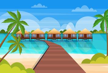 tropical island wooden path villa bungalow hotel on beach seaside green palms seascape summer vacation concept flat horizontal