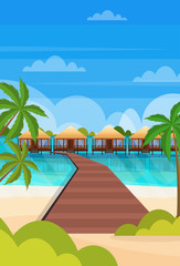 tropical island wooden path villa bungalow hotel on beach seaside green palms seascape summer vacation concept flat vertical