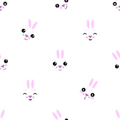 Vector seamless background. Kawai rabbit on the white background, cartoon bunny.