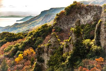 国立公園・秋の渓谷風景