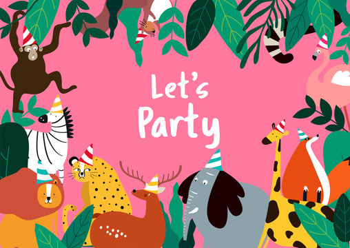 Animal in cartoon style party invitation card vector