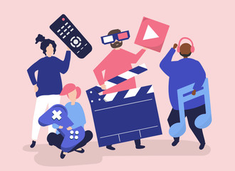 Characters of people holding multimedia icons illustration